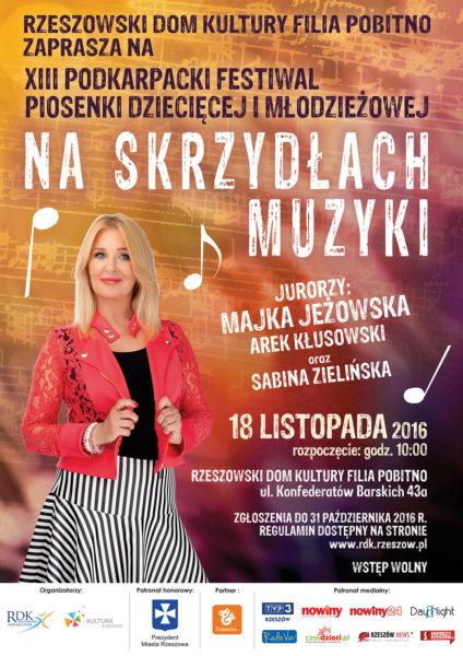 """Plakat konkursu """"na Skrzydłach Muzyki"""""""
