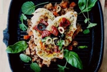 Grillowany kurczak z soczewicą i salsą pomidorową