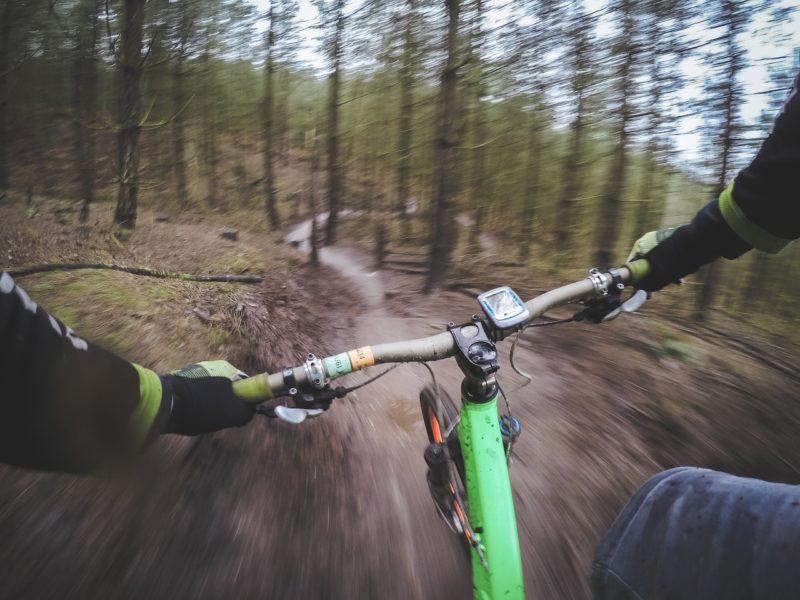 Zjazd rowerem górskim przez las
